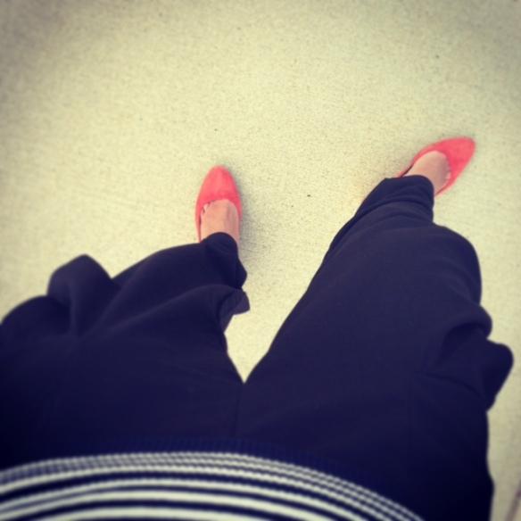 Orange heels suade